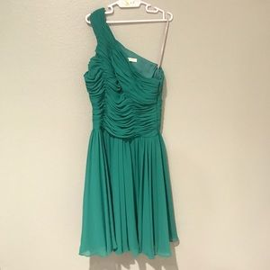 Halston Heritage green one shoudler dress